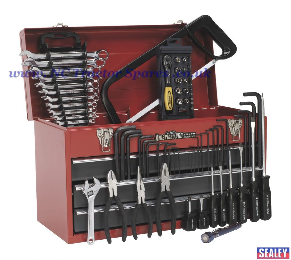 Portable Tool Chest 3 Drawer - Ball Bearing Runners - Red with 74pc Tool Kit